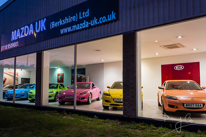 Mazda Car Showroom at Night, Reading, Berkshire, England, GB, UK
