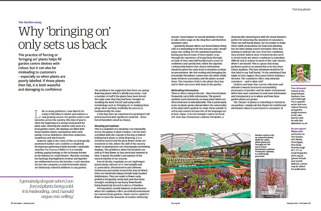 RHS 'The Garden' magazine